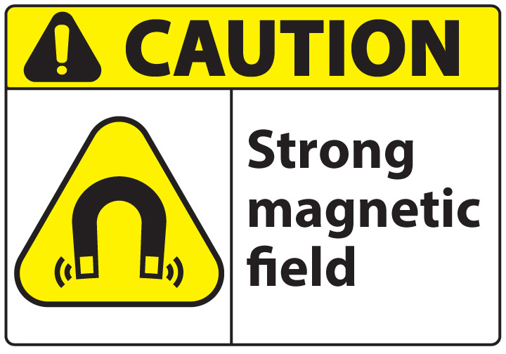 ZING Eco Safety Sign, CAUTION Magnetic Field, 10Hx14W, Recycled Plastic
