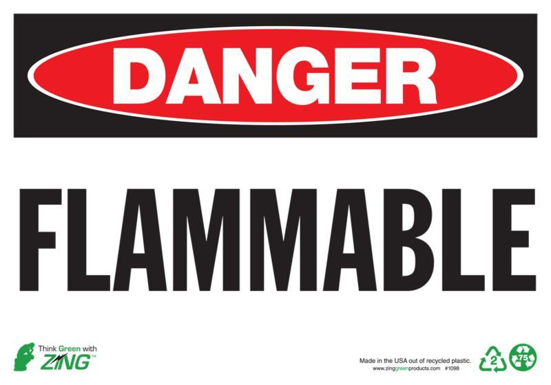ZING Eco Safety Sign, DANGER Flammable, 10Hx14W, Recycled Aluminum