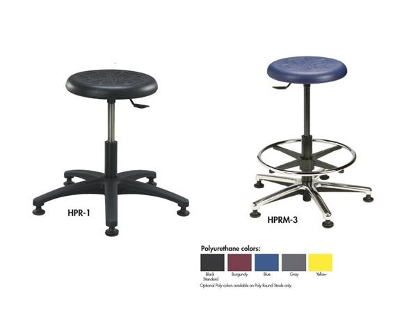 "ROUND STOOLS - POLYURETHANE SEAT- 16-1/2 to 21-1/2"" Seat Height, Black Polyurethane, Plastic Base, No Footring"
