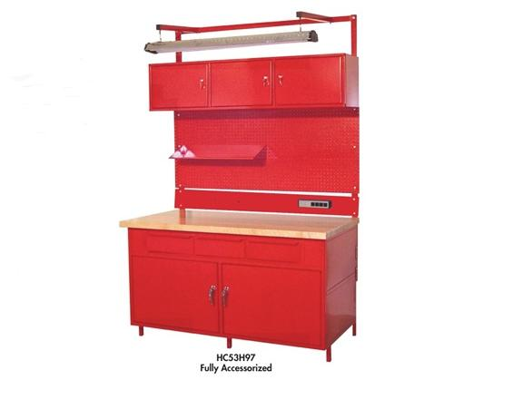 CABINET STYLE WORKBENCHES - OPTIONAL OVERHEAD ACCESSORIES- 4-Outlet Power Strip, 15amp (Requires one Bin Rail)