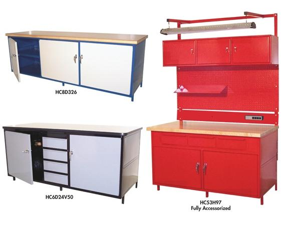 "CABINET STYLE WORKBENCHES- 30 x 34 x 60"", 3 Horizontal Drawers"