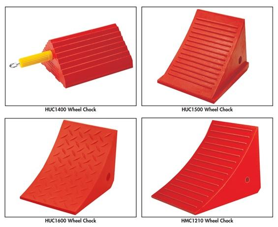 URETHANE WHEEL CHOCKS- Urethane Chock, with Easy Grip Handle, 4-1/2 lb. chock, 10 x 8.5 x 5""