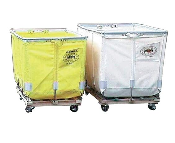 "EXTRA DUTY BASKET (NO CASTERS)- Yellow Glosstex Fabric, 14 Bu. Size, 34"" Overall Height"