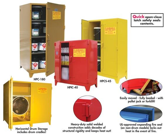 "FLAMMABLE STORAGE CABINETS- Red, Paint, ink & automotive Cabinet Style, 90 Cap. (gals.), No. of Shelves 5, No. Doors 2, 42 x 61 x 28"" Size W x H x D"