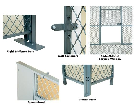 ACCESSORIES FOR WOVEN WIRE PARTITIONS- 10 high, Corner Posts - One post required  for every 90° corner.