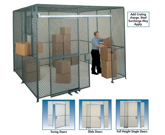 WOVEN WIRE PARTITION- Full height single slide doors, 8'x6' HxW, Padlock Lug Closure