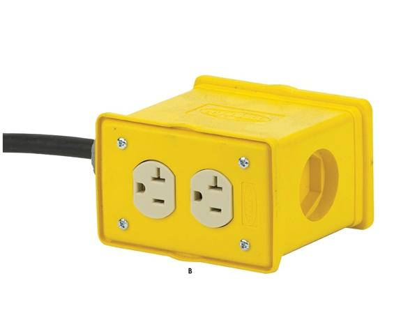 POWER CORD REELS-  Includes Accessory Quad Industrial Receptical, 12 ga. AWG, 3-35 Cords - # of Conductors-Length, 20 Amps