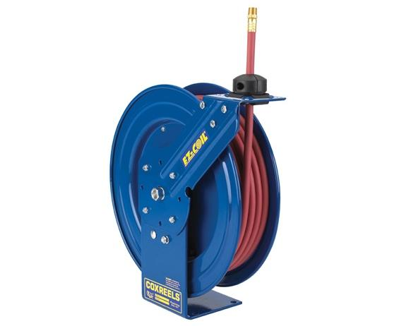 "EZ-COIL®  SAFETY SERIES HEAVY DUTY HOSE REELS- Reel with Low Pressure hose, 3/8"" I.D., 50 Length, 300 P.S.I., 150 Max Temp, 17-1/4 x 18-1/4 x 6-1/8"" Size WxHxL"
