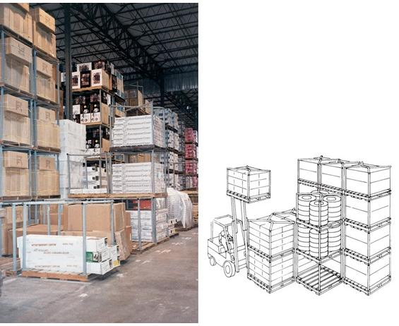 """TIER-RACKâ""¢"" DYNA PALLET STACKING FRAMES- Pallet Size D x W 60 x 60"", Blue, Load Height 60"""