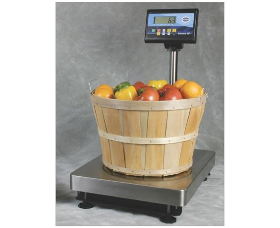 "STAINLESS STEEL BENCH SCALES SERIES III- 18 x 24"" Platform Size, 500 lbs. x .2 lbs. Available Cap. (lbs), RS232 Output, Battery or 120 VAC Power Req."