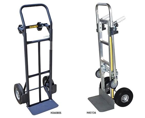 "FLOW BACK CONVERTIBLE HAND TRUCKS- Steel, 8"" Puncture Proof Wheels, 8 x 14"" Nose Plate, 600 Load Cap. (lbs)"