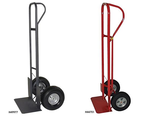 "INDUSTRIAL DUTY P-HANDLE TRUCK- 12"" Pneumatic Wheels, 8 x 18"" Toe Plate, 800 Load Cap. (lbs)"