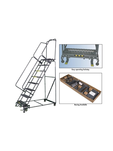 "M-2000 ROLLING SAFETY LADDERS- 24"" Tread Width, Perforated Step, 123"" Overall Height"