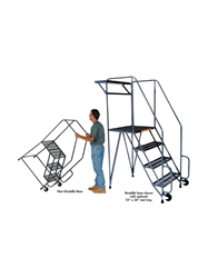 "TILT & ROLL LADDERS- Non-straddle, Serrated Grating, 63"" Overall Height"
