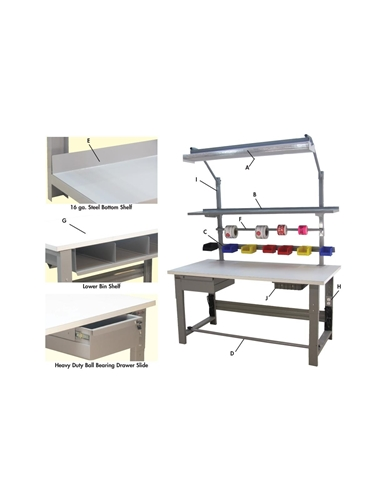 "1,000 LB. CAPACITY ROOSEVELT SERIES WORKBENCHES - WITH HEAVY FORMICAâ""¢ LAMINATE TOP- Desert Beige Top Color, 30 x 48"" Size DxL"