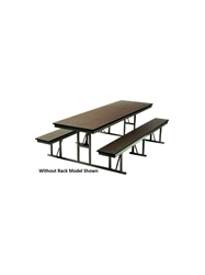 "LUNCHROOM CAFETERIA TABLES- Walnut/Tan, Without back, 30 x 72"", 60"" Overall Width"