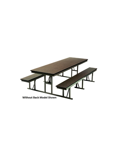 "LUNCHROOM CAFETERIA TABLES- Walnut/Tan, Without back, 30 x 96"", 60"" Overall Width"