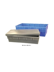 HEAVY-DUTY MOLDED PLASTIC CONTAINERS- Nests, includes lid for stacking, 38-1/2 x 18 x 9""