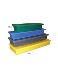 HEAVY-DUTY MOLDED PLASTIC CONTAINERS- Nests, includes lid for stacking, 54 x 11-1/2 x 8""