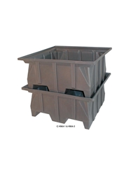 "STACKING PALLET CONTAINERS- 40 x 39 x 20"", 600 Cap. (lbs), Gray"