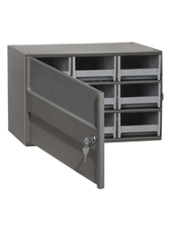 "STEEL STORAGE CABINETS-H19 Series Heavy-Duty<BR> Storage Cabinet w/locking door, Gray, 17 x 11 x 11"", 9 Drawers"