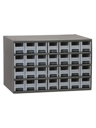 "STEEL STORAGE CABINETS-H19 Series Heavy-Duty<BR> Storage Cabinet, Gray, 17 x 11 x 11"", 28 Drawers"