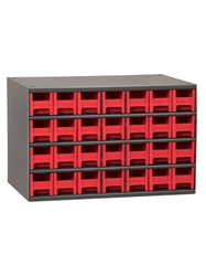 "STEEL STORAGE CABINETS-H19 Series Heavy-Duty<BR> Storage Cabinet, Red, 17 x 11 x 11"", 28 Drawers"