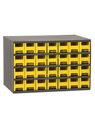"STEEL STORAGE CABINETS-H19 Series Heavy-Duty<BR> Storage Cabinet, Yellow, 17 x 11 x 11"", 28 Drawers"