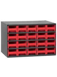 "STEEL STORAGE CABINETS-H19 Series Heavy-Duty<BR> Storage Cabinet, Red, 17 x 11 x 11"", 20 Drawers"