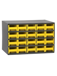 "STEEL STORAGE CABINETS-H19 Series Heavy-Duty<BR> Storage Cabinet, Yellow, 17 x 11 x 11"", 20 Drawers"