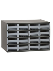 "STEEL STORAGE CABINETS-H19 Series Heavy-Duty<BR> Storage Cabinet, Gray, 17 x 11 x 11"", 16 Drawers"