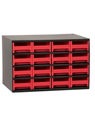 "STEEL STORAGE CABINETS-H19 Series Heavy-Duty<BR> Storage Cabinet, Red, 17 x 11 x 11"", 16 Drawers"