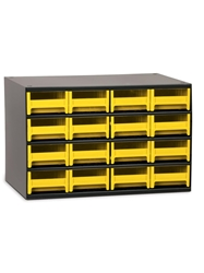 "STEEL STORAGE CABINETS-H19 Series Heavy-Duty<BR> Storage Cabinet, Yellow, 17 x 11 x 11"", 16 Drawers"