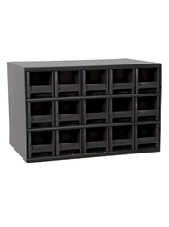 "STEEL STORAGE CABINETS-H19 Series Heavy-Duty<BR> Storage Cabinet, Black, 17 x 11 x 11"", 15 Drawers"