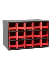 "STEEL STORAGE CABINETS-H19 Series Heavy-Duty<BR> Storage Cabinet, Red, 17 x 11 x 11"", 15 Drawers"