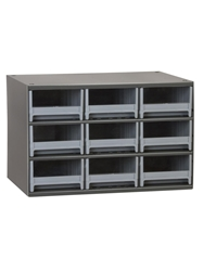 "STEEL STORAGE CABINETS-H19 Series Heavy-Duty<BR> Storage Cabinet, Gray, 17 x 11 x 11"", 9 Drawers"