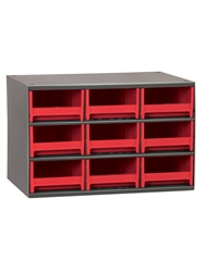"STEEL STORAGE CABINETS-H19 Series Heavy-Duty<BR> Storage Cabinet, Red, 17 x 11 x 11"", 9 Drawers"