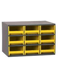 "STEEL STORAGE CABINETS-H19 Series Heavy-Duty<BR> Storage Cabinet, Yellow, 17 x 11 x 11"", 9 Drawers"