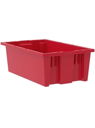 "NEST AND STACK TOTES-Red, 18 x 11 x 6"", Cap. Cu. Ft. 0.5"