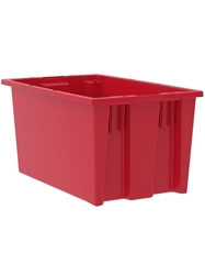 "NEST AND STACK TOTES-Red, 18 x 11 x 9"", Cap. Cu. Ft. 0.8"