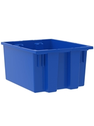 "NEST AND STACK TOTES-Blue, 19-1/2 x 15-1/2 x 10"", Cap. Cu. Ft. 1.2"