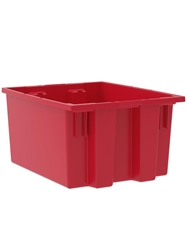 "NEST AND STACK TOTES-Red, 19-1/2 x 15-1/2 x 10"", Cap. Cu. Ft. 1.2"