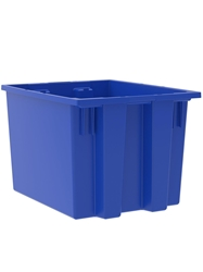 "NEST AND STACK TOTES-Blue, 19-1/2 x 15-1/2 x 13"", Cap. Cu. Ft. 1.7"