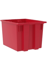 "NEST AND STACK TOTES-Red, 19-1/2 x 15-1/2 x 13"", Cap. Cu. Ft. 1.7"