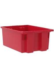"NEST AND STACK TOTES-Red, 19-1/2 x 13-1/2 x 8"", Cap. Cu. Ft. 0.8"