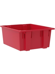"NEST AND STACK TOTES-Red, 23-1/2 x 19-1/2 x 10"", Cap. Cu. Ft. 2"