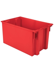 "NEST AND STACK TOTES-Red, 29-1/2 x 19-1/2 x 15"", Cap. Cu. Ft. 3.7"