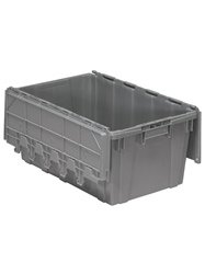 "ATTACHED LID CONTAINERS-Gray, 27 x 17 x 12-1/2"", Cap. Cu. Ft. 2.3, Cap. Gal. 16.9"