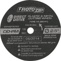 DD-PM5 Rotozip Plastic and Metal Cutting Wheel DD-PM5, Direct Drive Plastic And Metal Cutting Wheel