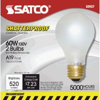 S3927 Satco A19 Incandescent Shatterproof Rough Service Light Bulb S3927, Satco A19 Incandescent Shatterproof Rough Service Light Bulb